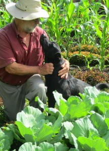 Frank in the Garden with Brewster